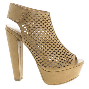 Rotary Tan By Speed Limit 98, Peep Toe Perforated Chunky Heel Platform Pumps