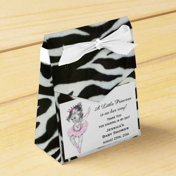 Vintage Princess Ballerina Baby Shower Zebra Favor Box