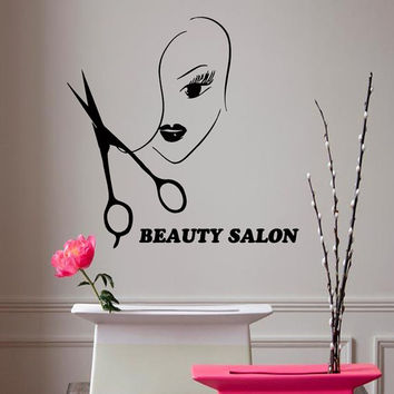 Wall Decals Vinyl Decal Girl Beauty Salon Hairdressing Salon Fashion People Home Vinyl Decal Sticker Kids Nursery Baby Room Decor kk106