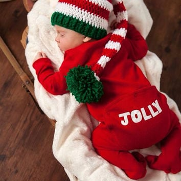 crochet elf hat long tailed baby boy photo prop red, white and green, Christmas