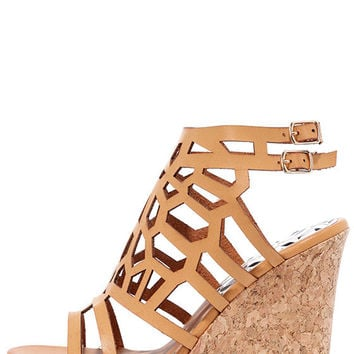 Bungalow Camel Cutout Platform Wedges