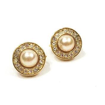 Christian Dior Pearl Crystal Earrings, Circle Button Style, Goldtone Setting, Clip On, Designer Jewelry, Weddings 1980s, Vintage Jewelry