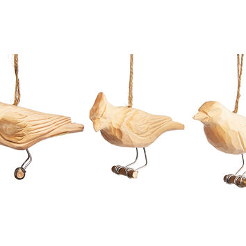 """Asst. of 3 4"""" Carved Wood Bird Ornaments, Ornaments"""