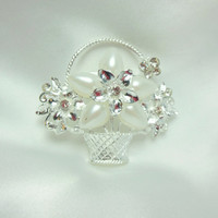 Silver and White Brooch Basket Full of Flowers