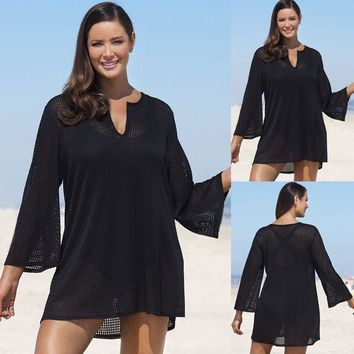 Plus Size Black Summer Beach Swim Wear Cover Up Tunic