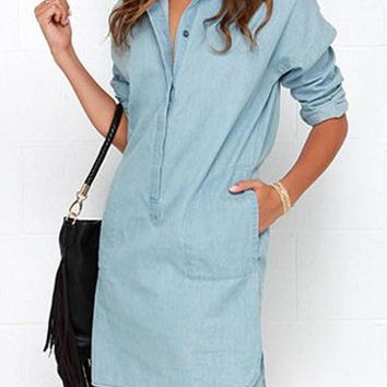 Streetstyle  Casual Light Blue Plain Buttons Turndown Collar Long Sleeve Mini Dress