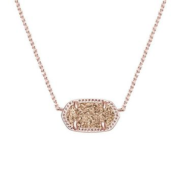 Elisa Rose Gold Pendant Necklace in Rose Drusy| Kendra Scott