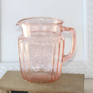 """Pink Depression Glass Mayfair Pitcher with Etched Floral Design on 4 Sides 6""""T , Collectible Glass , Vintage Glass Pitcher"""