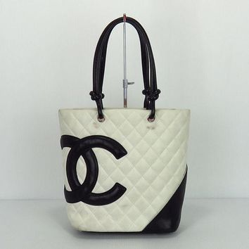 Used Chanel Ligne Cambon A25167 Women's Leather Handbag,Tote Bag Black,Whit 1367