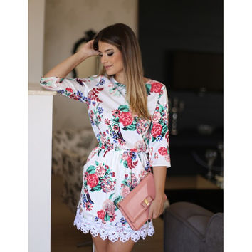 White Floral Print Lace Sleeve Chiffon Dress