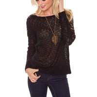 Arianna Knit Lace Top - Black