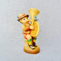 Anri Ferrandiz Umpapa Carved Wood Figurine Boy Playing Tuba French Horn 1960s Collectible Wooden Musical Figurine Italian Carving