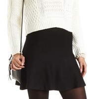 Sweater Knit Skater Skirt by Charlotte Russe - Black