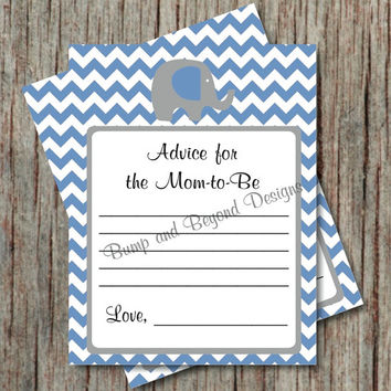 Advice for Mom to Be Card Elephant Chevron Ocean Blue Grey Baby Shower Advice for New Mom Parents to Be Cards Instant Download - 003