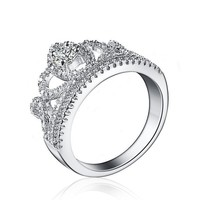 Princess Queen Crown Stackable Rings With Clear Zircon Rings 925 Sterling