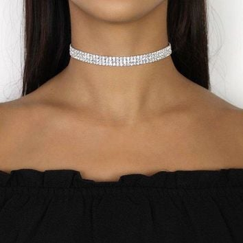 Triple Strand Rhinestone Diamond Choker Necklace