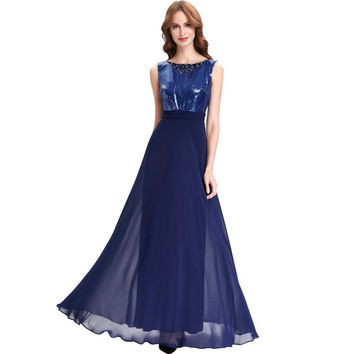 Western Junior Bridesmaid Dresses Long Navy Blue Wedding Party Dress Brautjungfernkleid 2017 Cheap Bridesmaid Dresses Under 50