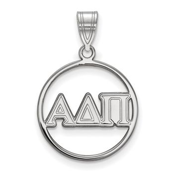 Sterling Silver Alpha Delta Pi Small Circle Pendant