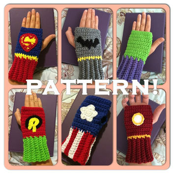 PDF CROCHET PATTERN: Superhero Fingerless Kids gloves