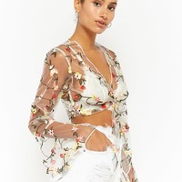 Reverse Sheer Embroidered Crop Top