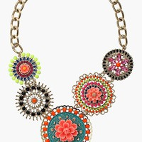 Topshop Beaded Flower Statement Necklace