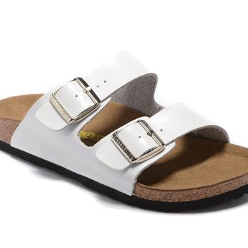 Birkenstock summer fashion men's and women's cork white flat shoes slippers casual sandals