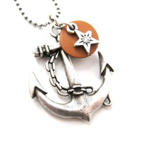 Classic Anchor Shaped Nautical Themed Charm Necklace in Silver | DOTOLY