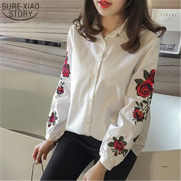 2017 New Spring Student Korean Style shirt Print Flower Embroidered blouse Female Lapel Tunic Tide Striped Shirt Tops 923B 30