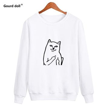 KPOP BTS Bangtan Boys Army Harajuku Style Middle Finger Pocket Cat Print Sweatshirt Women Casual Funny Women Pullovers o Neck Female Sweatshirts Lady  AT_89_10