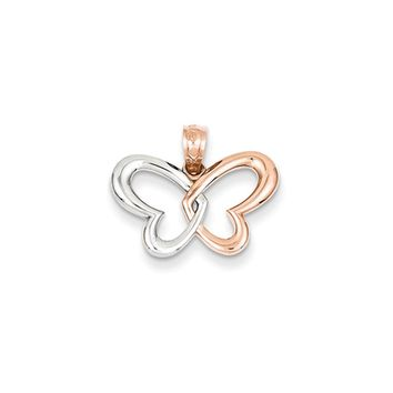 14k Rose Gold and White Rhodium Heart Winged Butterfly Pendant, 19mm