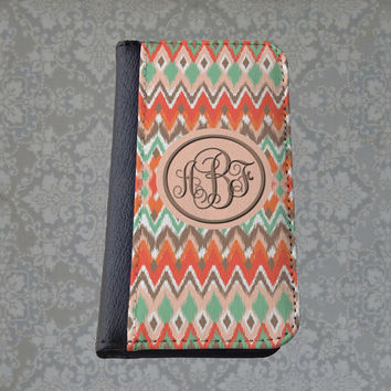 SALE Ikat Monogram phone wallet case, personalized iPhone case, iPhone 4 5 6 customized Samsung wallet, peach apricot, gift for girls