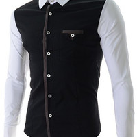 Color Block One Pocket Button Down Long Sleeves Shirt