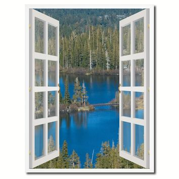 Twin Lakes Mammoth California Picture French Window Canvas Print with Frame Gifts Home Decor Wall Art Collection