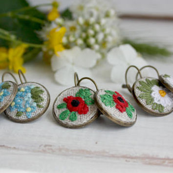 Boho embroidered earrings hand embroidered jewelry forget-me-not poppies daisies WildFlowers Linen Ukrainian vyshyvanka bohemian floral