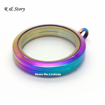 316L Stainless Steel Rainbow Screw Twist Floating Lockets For Floating Charms 30mm LFL_104