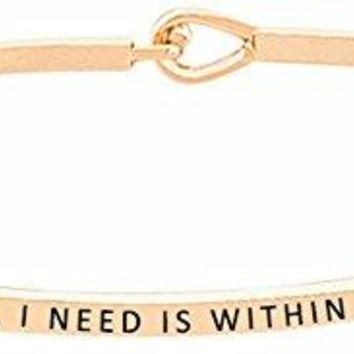 ALL I NEED IS WITHIN ME Inspirational Positive Quote Mantra Message Engraved Thin Bangle Hook Bracelet  Jewelry Gift for Women amp Teen Girls