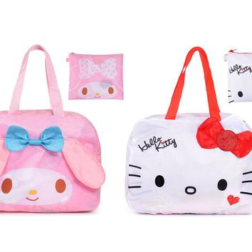 Kawaii Cute Hello Kitty Cat My Melody Foldable Folding Travel Bag Women Girls Cartoon Tote Duffle Bags Travel Luggage