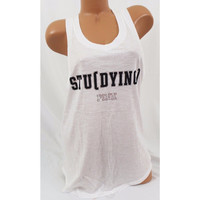 "Victoria's Secret PINK ""STU(DYING)"" Racerback Tank Top"