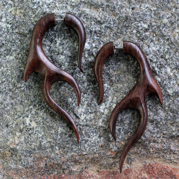 Antler, Body Jewelry Fake Gauge Earrings, Carved Rose Wood Organic Primitive Body Jewelry Ear TribalStyle Cheater Expander Faux Gauges
