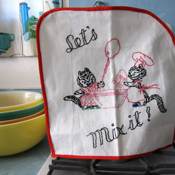 Let's Mix It - Appliance Cover - Vintage 50s 60s - Embroidered Novelty Kitchen Linen - Retro Decor