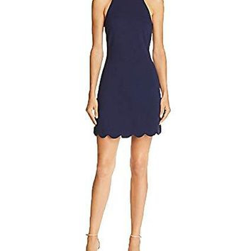 Aqua Women's Scalloped Shift Dress, Navy