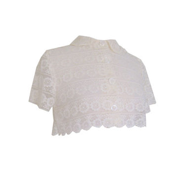 Sheer Cream Lace Cropped Short Jacket Size Small