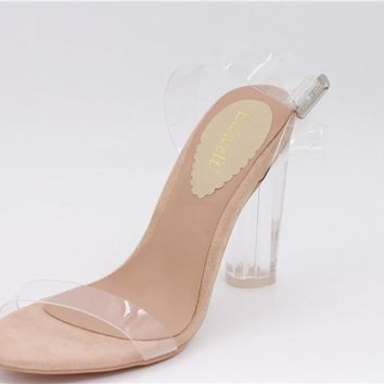 Open Toe High Heel Clear Jelly Sandals