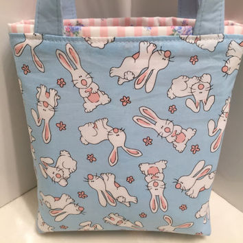 Rabbits, Easter Bunnies, Easter Basket, Toddler Tote, Easter Egg Tote, Children, Candy, Birthday, Gift Wrap, Spring Gift Bag, Baby Shower