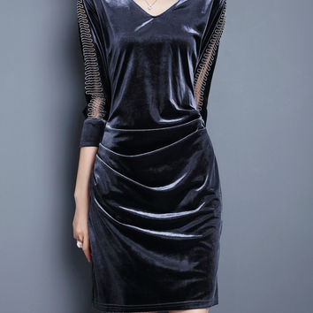 Elegant women bodycon dress hollow out sleeve