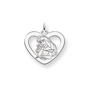 Disney's Sterling Silver Princess Aurora Heart Charm, 3/4 Inch