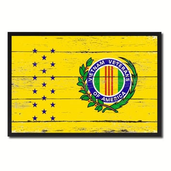 Vietnam War American Veterans Military Flag Vintage Canvas Print with Picture Frame Home Decor Man Cave Wall Art Collectible Decoration Artwork Gifts
