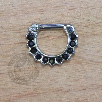 Black Paved Gems Steel Septum Clicker