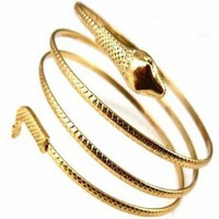 Gold Spiral Arm Cuff Bangle Bracelet
