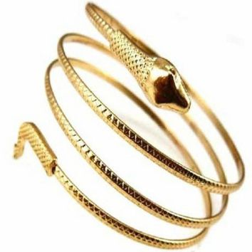 Charm Coiled Spiral Upper Arm Cuff Bangle Bracelet GD